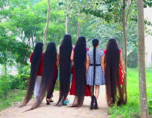 Native American women with long, flowing hair.