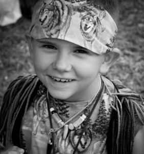Potawatomi boy in regalia at pow wow.